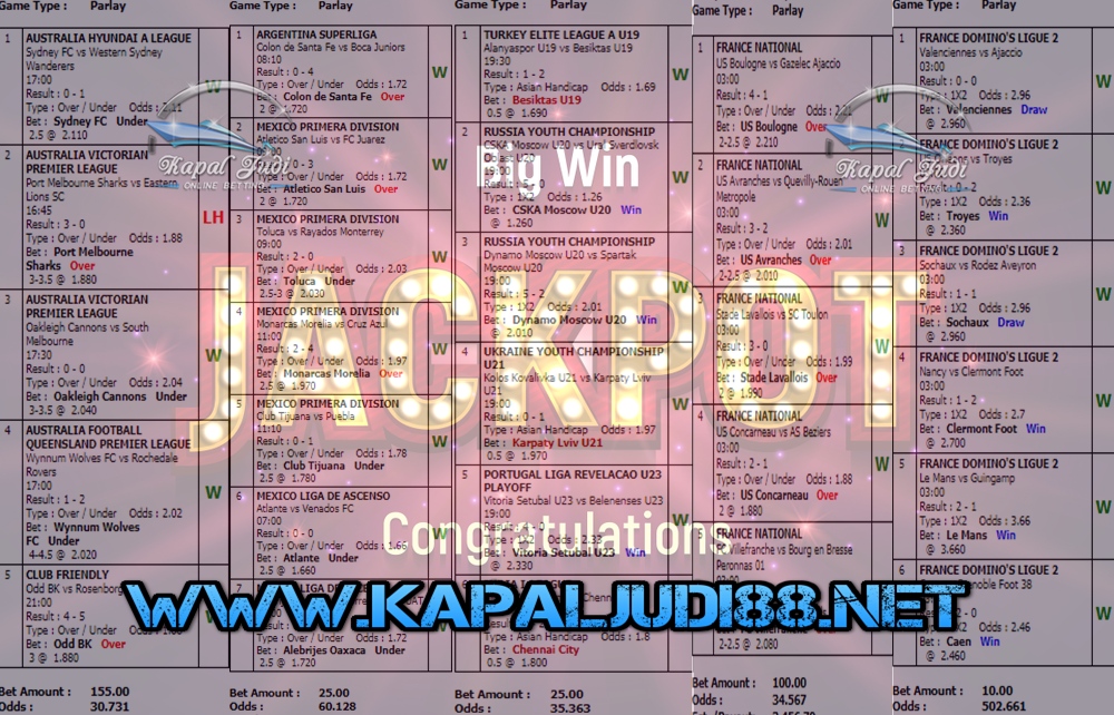 Jackpot Di KapalJudi Mix Parlay Sportbook 29 Februari 2020