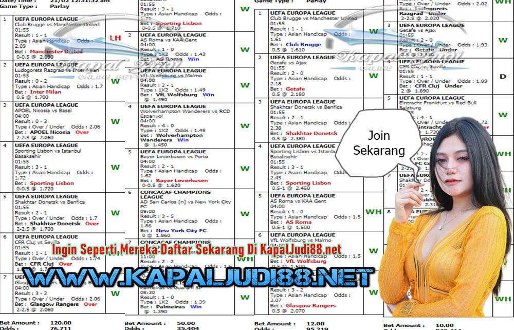 Jackpot Di KapalJudi Mix Parlay Sportbook 21 Februari 2020