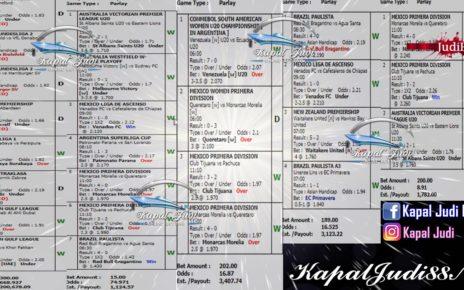 Info Kemenangan KapalJudi Mix Parlay 14 Maret 2020