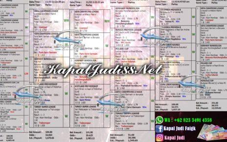 Info Kemenangan KapalJudi Mix Parlay 12 Maret 2020
