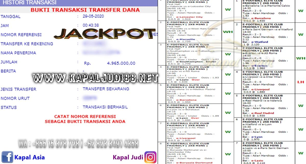 Jackpot Parlay 29 Mei 2020 KapalJudi