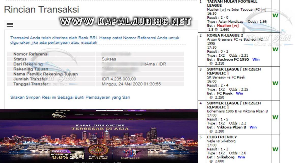 Jackpot Parlay 24 Mei 2020 KapalJudi