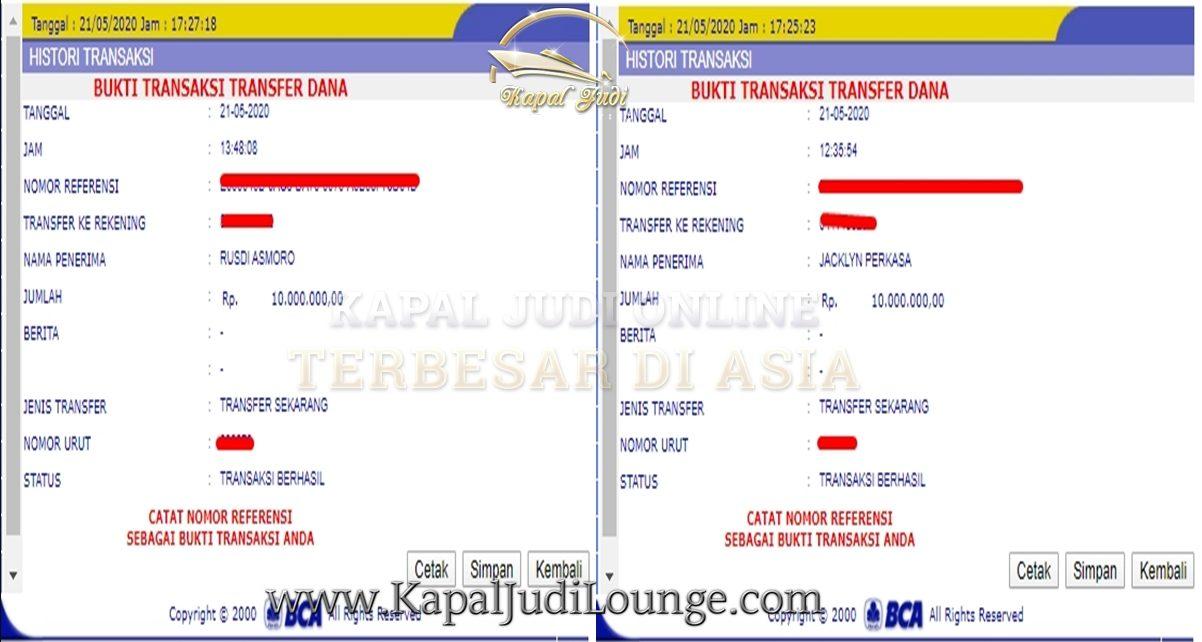 Info Kemenangan Member Kapal 21 Mei 2020