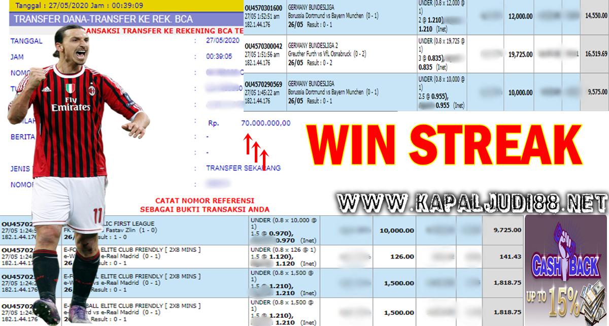 Info Kemenangan Single Bet Win Streak