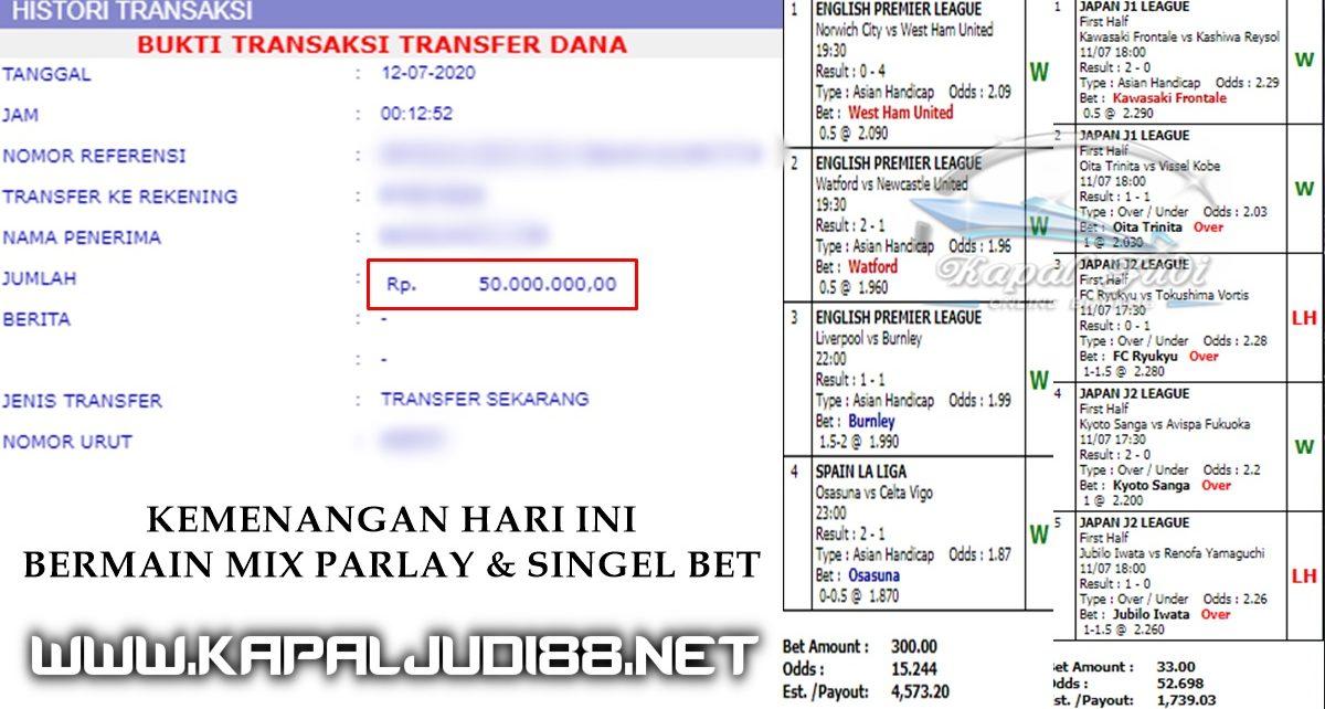 Info Kemenangan Bermain Single Bet & Mix Parlay