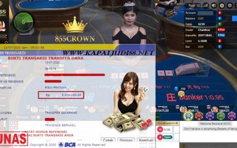 Kemenangan di Permainan 855crown Judi Online Dengan Nominal 5.000.000 Juta, dari modal