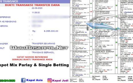 Info Kemenangan Single Bet & Jackpot Mix Parlay 22 Agustus 2020