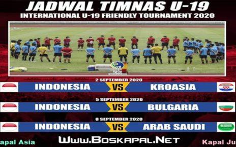 Jadwal Timnas Indonesia U-19 Friendly Tournament 2020