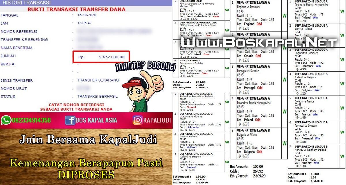 Info Kemenangan: Single Bet & Jackpot Mix Parlay 15 Oktober 2020