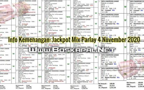 Info Kemenangan: Jackpot Mix Parlay 4 November 2020
