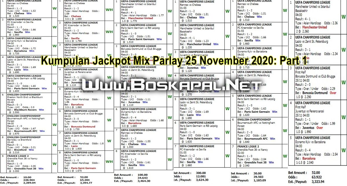 Kumpulan Jackpot Mix Parlay 25 November 2020: Part 1