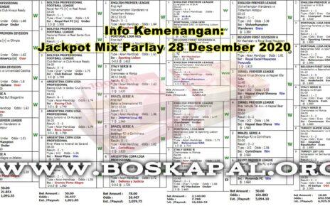 Info Kemenangan: Jackpot Mix Parlay 28 Desember 2020