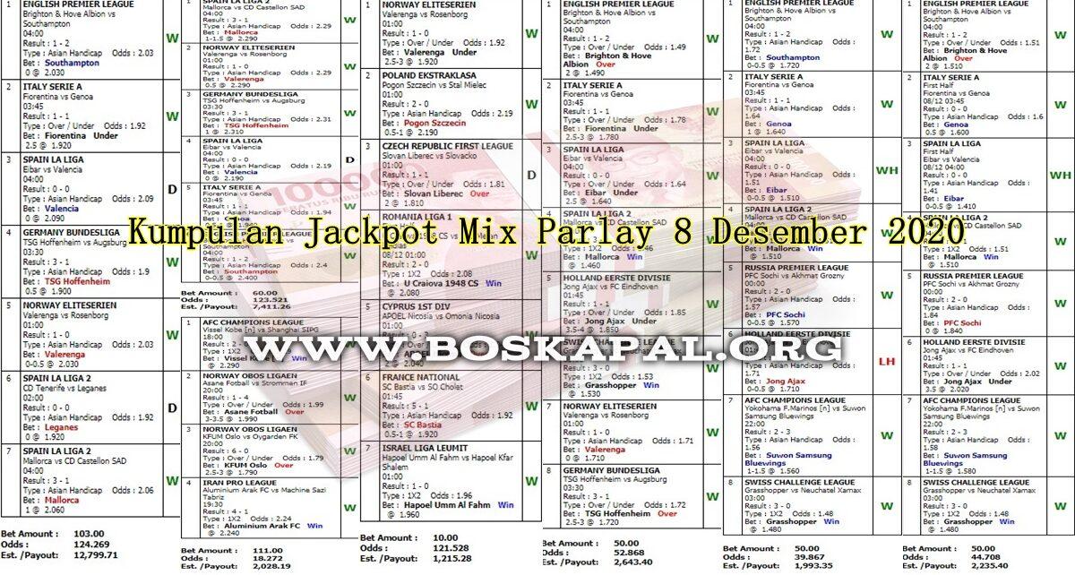 Info Kemenangan: Jackpot Mix Parlay 8 Desember 2020