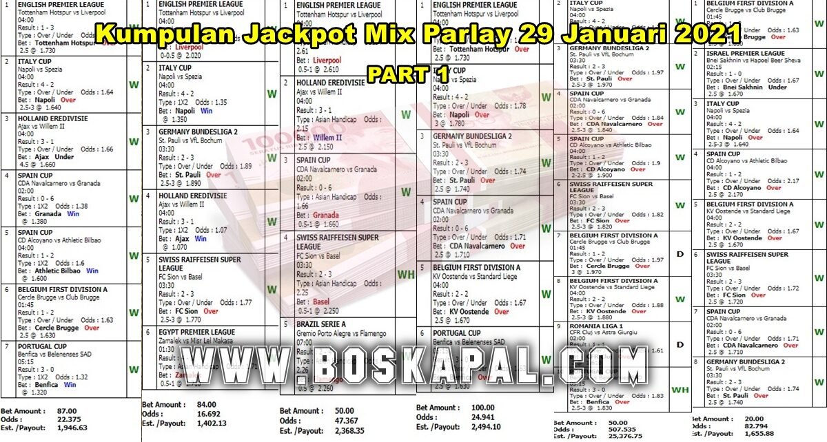 Kumpulan Jackpot Mix Parlay 29 Januari 2021 Part 1