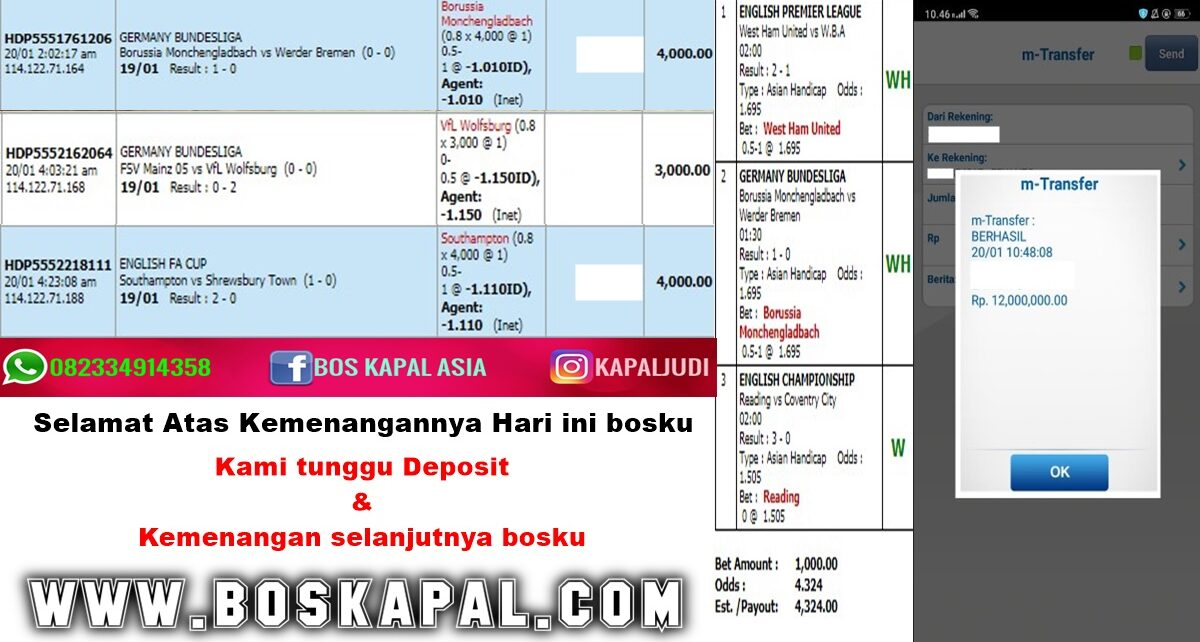 Info Kemenangan: Single Bet & Mix Parlay 20 Januari 2021