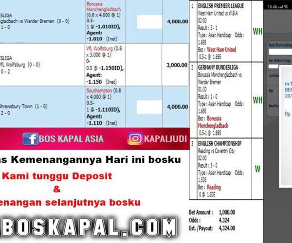 Info Kemenangan: Single Bet & Mix Parlay 20 Januari 2021