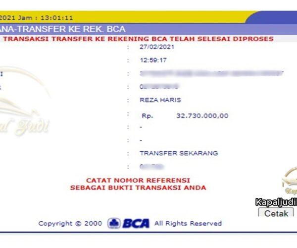 Info Kemenangan member KapalJudi 27 Februari 2021