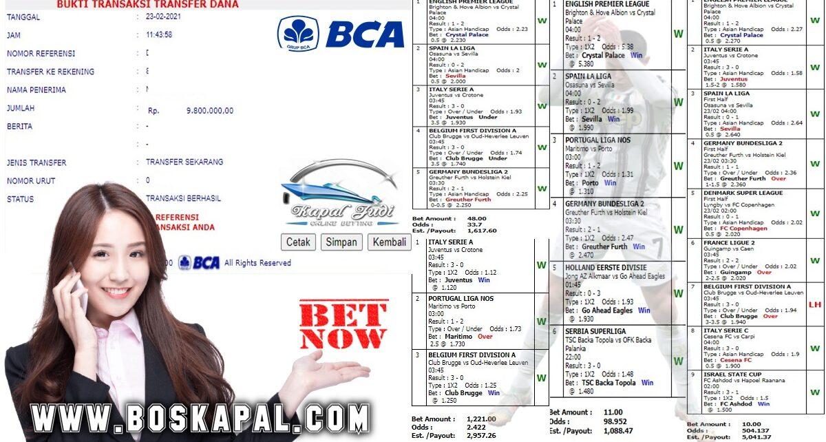 Kemenangan Bermain Single Bet Dan Mix Parlay 23 Februari 2021
