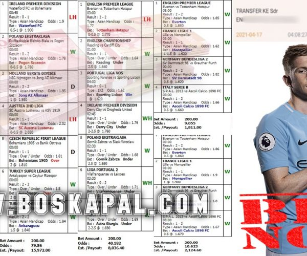 Info Kemenangan Jackpot Mix Parlay 17 April 2021
