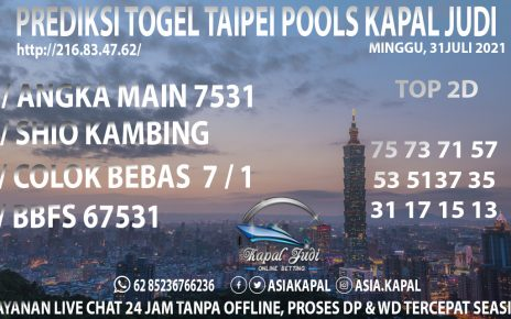 PREDIKSI TOGEL TAIPEI POOLS KAPAL JUDI MINGGU 01 AGUSTUS 2021