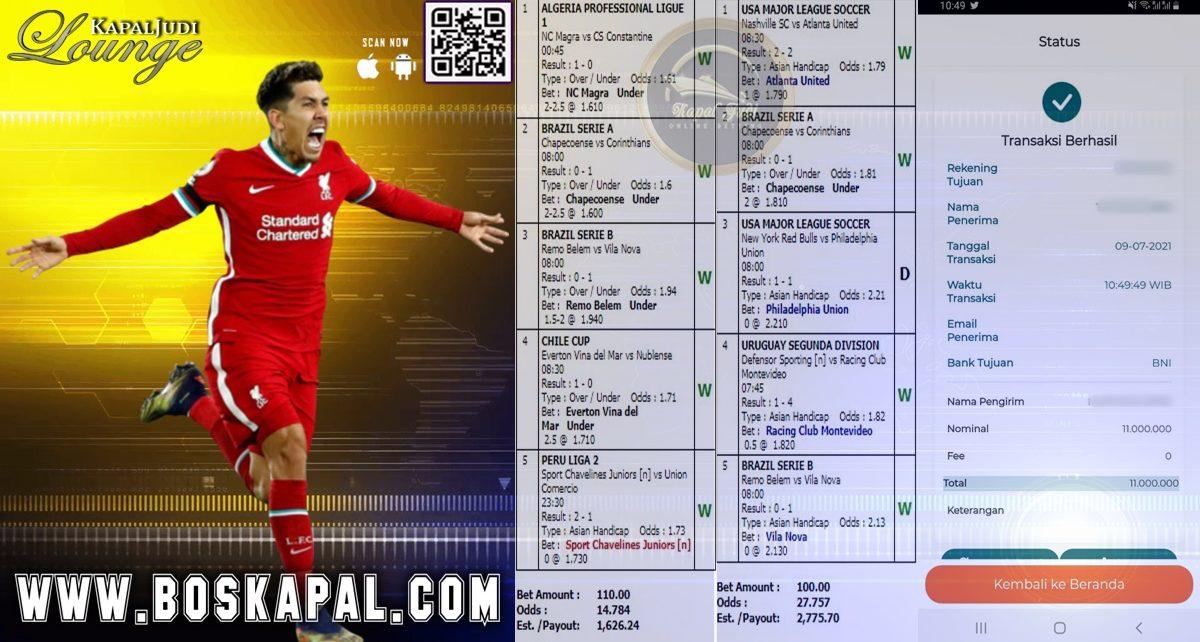 Info Kemenangan Mix Parlay & Single Bet 09 Juli 2021
