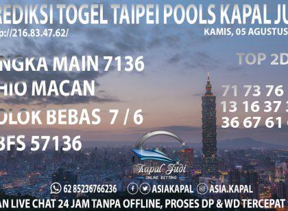 PREDIKSI TOGEL TAIPEI POOLS KAPAL JUDI KAMIS 05 AGUSTUS 2021