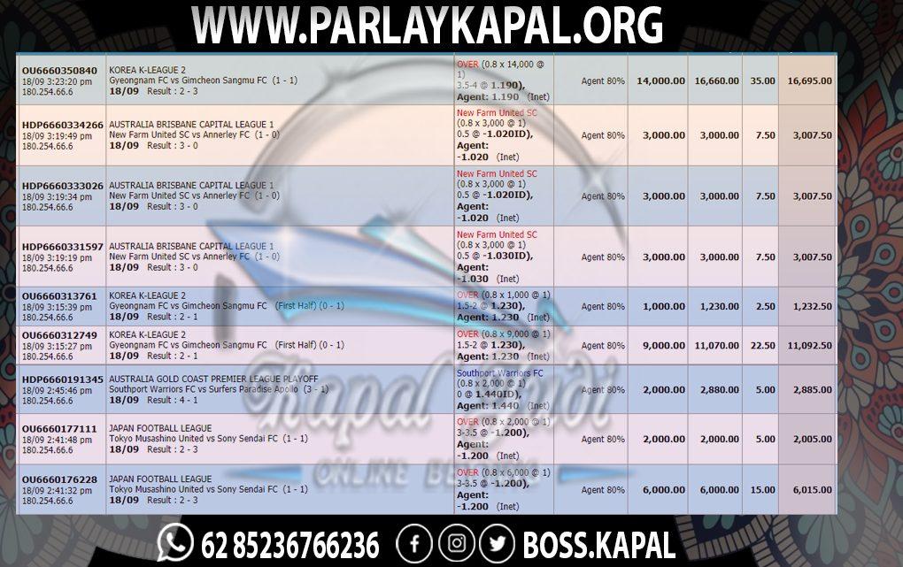 Info Kemenangan Taruhan Tunggal Sportbook 19 September 2021