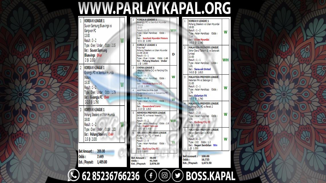 Jackpot Parlay Kapal Judi 21 September 2021