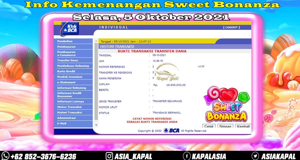 Info Kemenangan: Sweet Bonanza 05 Oktober 2021